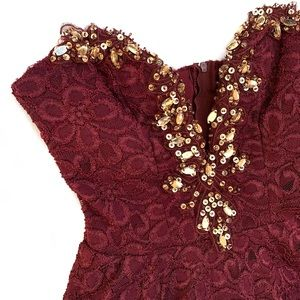 Gorgeous Maroon Lace Dress